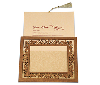 Wedding invitation in laser cut photo frame with floral design