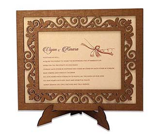 Wedding invitation in laser cut photo frame with floral design -