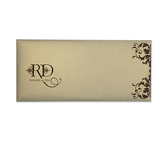 Wedding Invitation in light brown with multicolour inserts