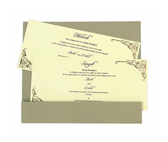 Wedding Invitation in Olive Green with Laser cut Names