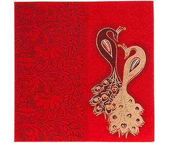 Wedding Invitation in Red satin with stone studded peacock