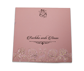 Wedding invitation in rose theme with embossed flowers