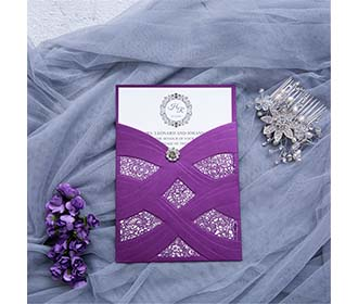 Wedding Invitation in vibrant purple With Laser Cut Pearl Pattern -