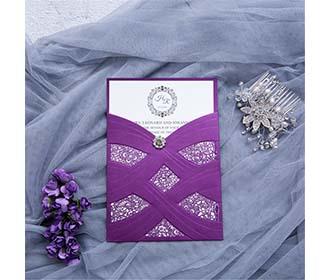 Wedding Invitation in vibrant purple With Laser Cut Pearl Pattern
