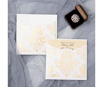 Wedding invitation with golden foil stamped insert holder pocket