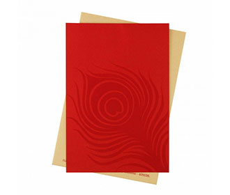 Wedding Invitation with Peacock Feather on Red Satin Flap