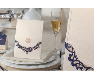Wedding Invitations Cards With Rhinestone & Blue Laser Cut Flower