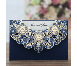 Wedding Invitations with Blue Floral Laser Cut Designs