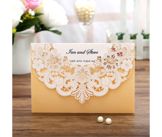Wedding Invitations with Blue Floral Laser Cut Designs -