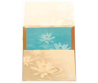 Wedding Invite in Brown and Sky Blue with Lotus Design