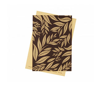Wedding Invite in Brown with Leaf Design on Brown Satin Flap
