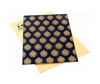Wedding Invite in Golden with Motifs on Royal Blue Satin Flap