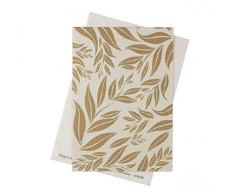 Wedding Invite in Ivory with Leaf Design on Ivory Satin Flap