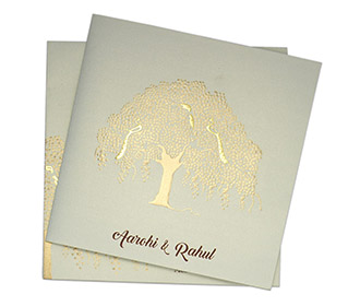 Wedding invite in powder blue colour with a banyan tree