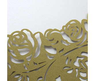 Wedding invite with a laser cut pocket in golden roses
