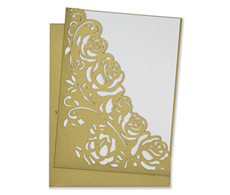 Wedding invite with a laser cut pocket in golden roses -
