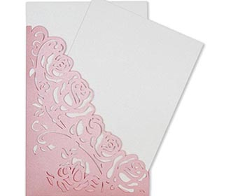 Wedding invite with a laser cut pocket in pastel pink roses