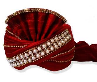 Turban in Red silk decorated with stones and Pearls for Groom -