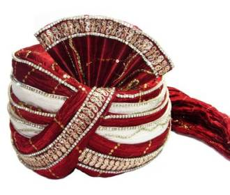 Red and White silk based Turban embroidered with Stones -