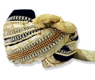 White and Blue Silk Based Turban  for Groom -