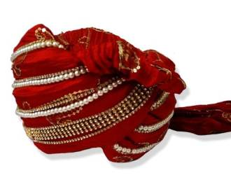 Grooms Turban in Red silk in border embroidered with stones -
