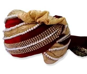 Grooms Turban in Red & Cream color based in Silk and Velvet -
