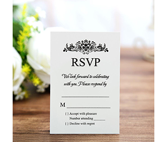 White colour RSVP card wedding stationery with envelope -