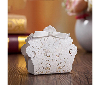 White Floral Lasercut Wedding and Engagement Favor Boxes