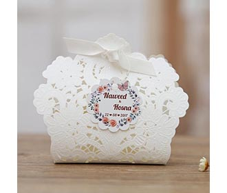 White Floral Lasercut Wedding and Engagement Favor Boxes -