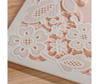 White Square Floral Vintage Laser Cut Wedding Invitation