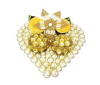White Stone Studded Ring Platter with Ring Cases -