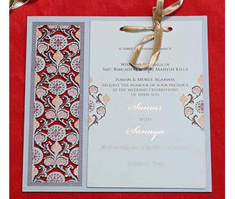 Wooden Floral Indian Wedding Invitation in Light Blue Colour