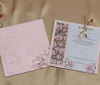 Wooden Floral Indian Wedding Invitation in Light Pink Colour