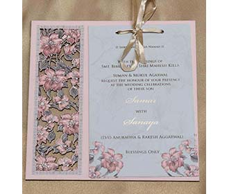 Wooden Floral Indian Wedding Invitation in Light Pink Colour -