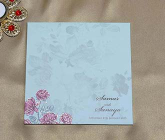 Wooden Floral Indian Wedding Invitation in Pink and Blue