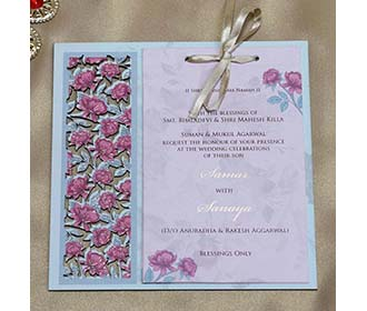 Wooden Floral Indian Wedding Invitation in Pink and Blue -