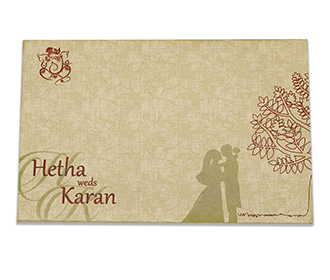 Wooden laser cut wedding card with tree of life and the bride & groom