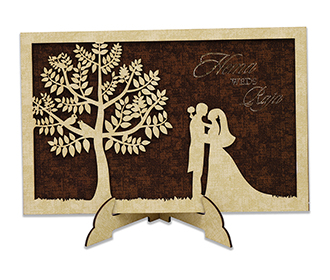 Wooden laser cut wedd